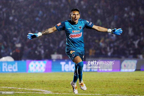 Monterrey's Jonathan Orozco celebrates a scored goal during their first leg final match against Cruz Azul for the 2009 Mexican Apertura at...