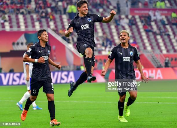 Monterrey's midfielder Arturo Gonzalez celebrates after scoring during the 2019 FIFA Club World Cup 3rd place playoff football match between Mexico's...