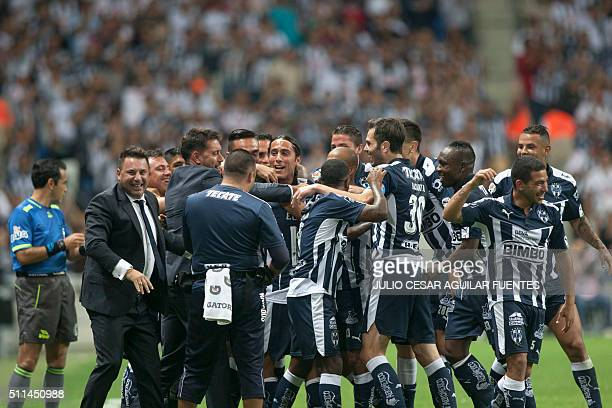Monterrey's players celebrate after scoring against Veracruz during their Mexican Clausura 2016 tournament football match at the BBVA Bancomer...