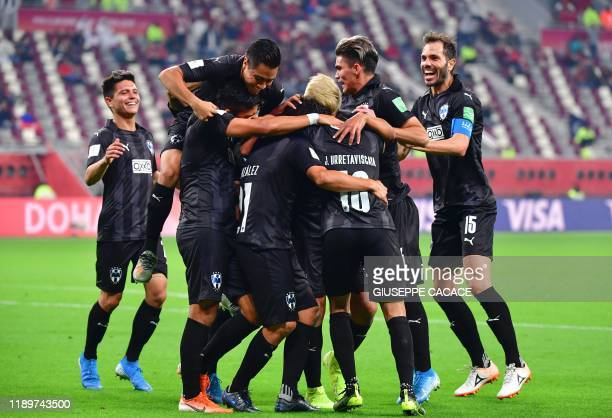 Monterrey's players celebrate their goal during the 2019 FIFA Club World Cup 3rd place playoff football match between Mexico's Monterrey and Saudi's...