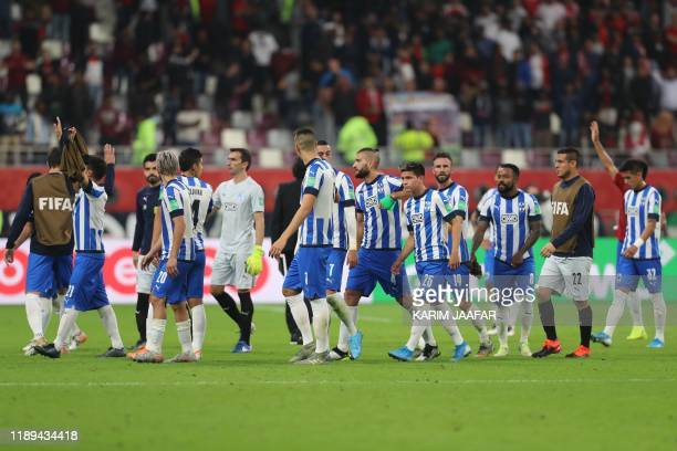 Monterrey's players greet supporters following the 2019 FIFA Club World Cup semifinal football match between Mexico's Monterrey and England's...