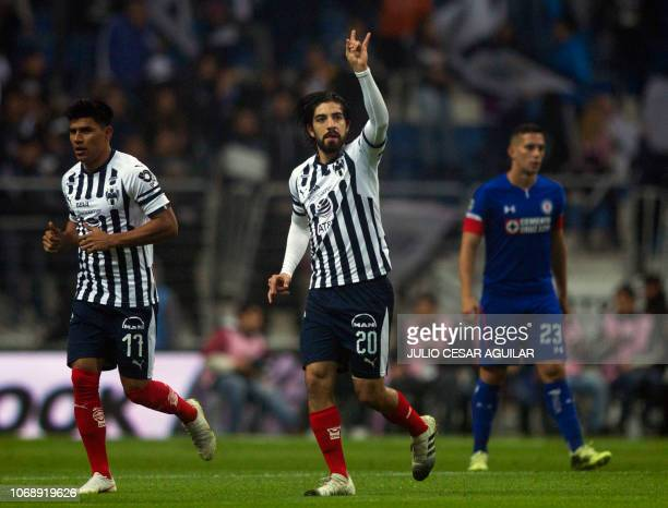 Monterrey's Rodolfo Pizarro celebrates after scoring against Cruz Azul during their Mexican Apertura 2018 first leg semifinal football match at the...