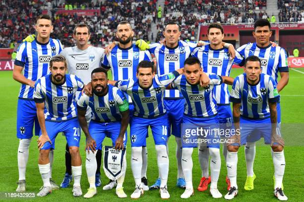 Monterrey's starting eleven pose for a group picture during the 2019 FIFA Club World Cup semi-final football match between Mexico's Monterrey and...