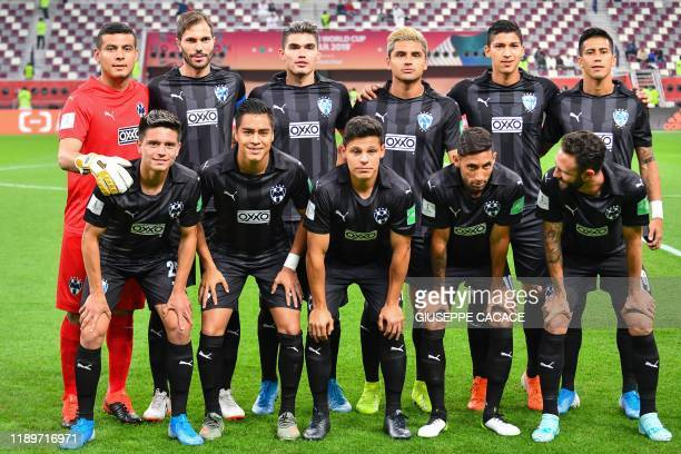 Monterrey's starting eleven pose for a group picture during the 2019 FIFA Club World Cup 3rd place playoff football match between Mexico's Monterrey...