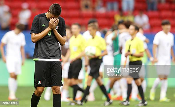 Montes Cesar laments the loss of Mexico during the Group C match between Mexico v South Korea of the Rio 2016 Olympic Games at Mane Garrincha Stadium...