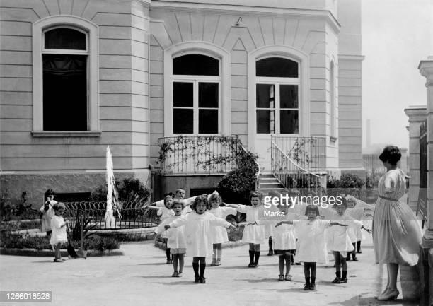 Montessori Kindergarten. Outdoor Gymnastics. Naples 1920-30.