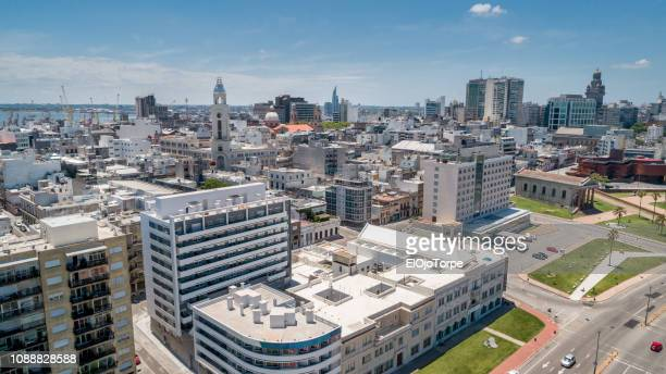 montevideo's downtown, aerial view, drone point of view, montevideo, uruguay - montevideo stock pictures, royalty-free photos & images