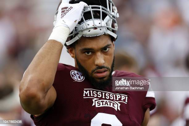 Montez Sweat of the Mississippi State Bulldogs reacts during a game against the Florida Gators at Davis Wade Stadium on September 29 2018 in...