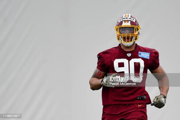 Montez Sweat of the Washington Redskins in action during Washington Redskins rookie camp on May 11 2019 in Ashburn Virginia