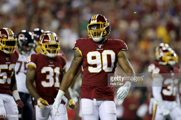 Montez Sweat of the Washington Redskins looks on against the Chicago Bears at FedExField on September 23 2019 in Landover Maryland