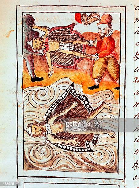 Montezuma II last Aztec emperor 1520 The bodies of Montezuma and one of his chiefs thrown into a canal after their murder by Spanish conquistadors...