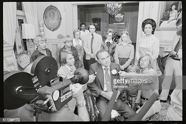 Alabama Governor George C Wallace talks with newsmen at the Executive Mansion after learning he had won a landslide victory in his bid for nomination...