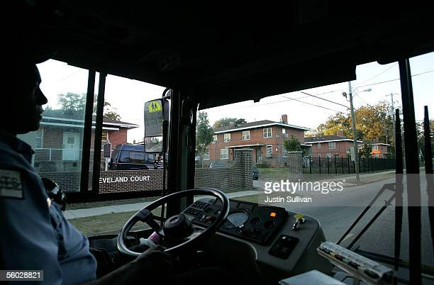Montgomery Area Transit System driver Samuel Hendricks passes by the Cleveland Court Apartments the former home of civil rights icon Rosa Parks...