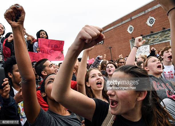 SPRING MD NOVEMBER Montgomery Blair High School junior Lyla DiPaul joins other students in a small rally in a parking lot at Westfield Wheaton Mall...