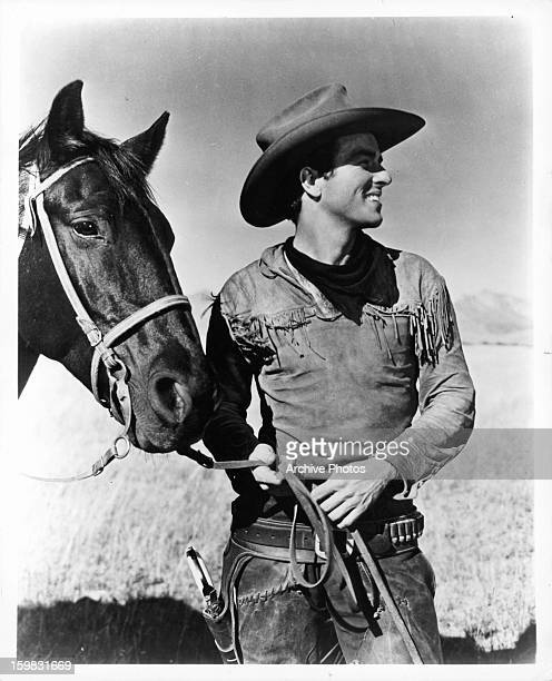 Montgomery Clift and his horse in a scene from the film 'Red River' 1948