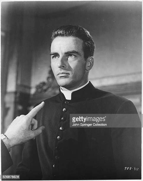 Montgomery Clift as Father Michael Logan in a scene from the 1953 Alfred Hitchcock thriller I Confess