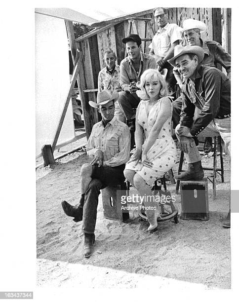Montgomery Clift Eli Wallach Marilyn Monroe Clark Gable Arthur Miller and John Huston on the set of the film 'The Misfits' 1961