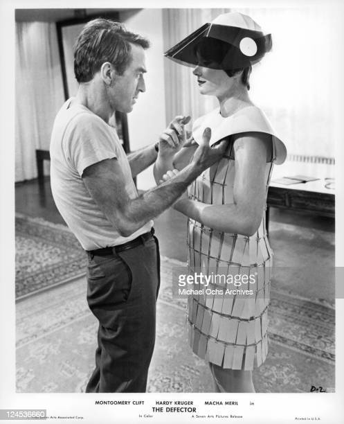 Montgomery Clift is confronted by Macha Meril whose weird appearance is imagined by Clift in a scene from the film 'The Defector' 1966