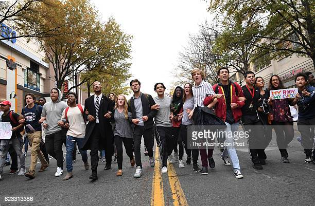 SPRING MD NOVEMBER Montgomery County high school students lock arms as they march into downtown Silver Spring after leaving their schools on Monday...
