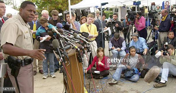 Montgomery County Police Chief Charles Moose speaks at a press conference outside police headquarters October 12 2002 in Rockville Maryland Chief...
