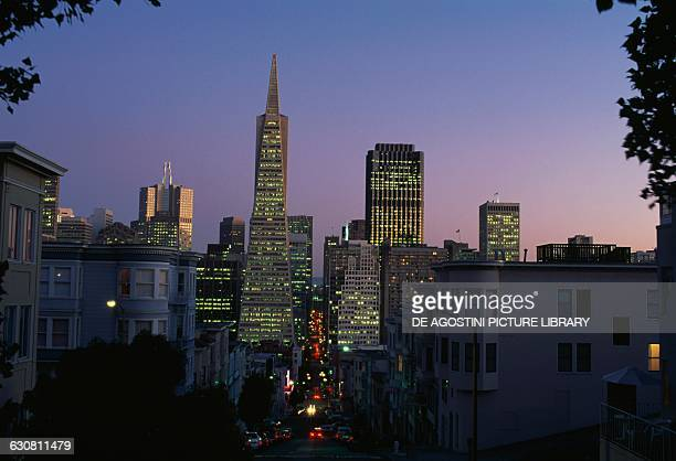 Montgomery Street with the Transamerica Pyramid on the left Financial District at night San Francisco California United States of America