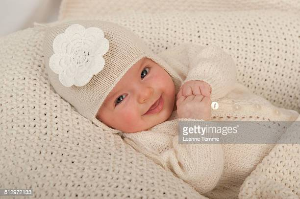 3 month baby girl in beanie
