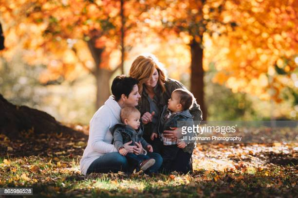 15 Month Fraternal Twin Boys Interact with their Two Moms during a Beautiful Fall Day