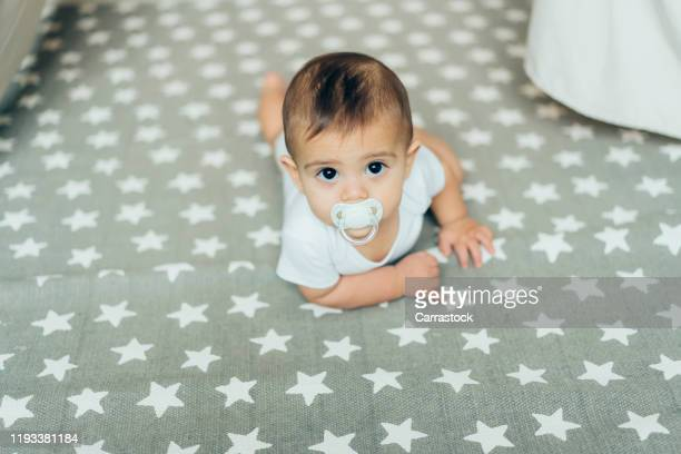 6 month old baby boy posing to camera - week stock pictures, royalty-free photos & images