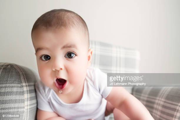 6 month old baby boy sits in chair with mouth wide open - 6 11 meses - fotografias e filmes do acervo