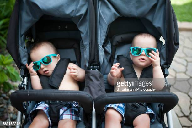 12 Month Old Fraternal Twin Baby Boys Wear Sunglasses in a Stroller