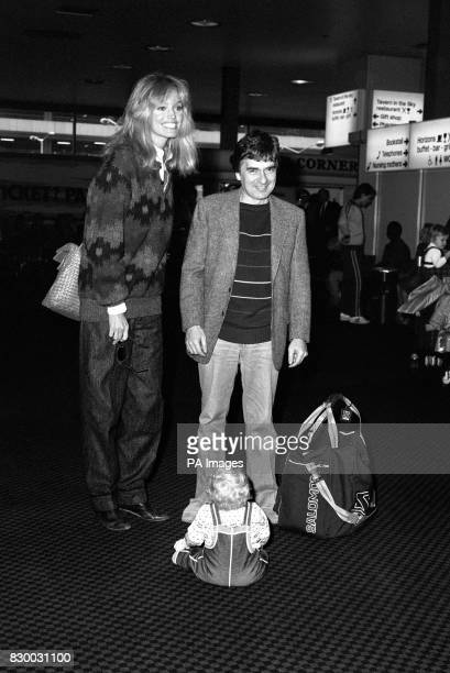 11 month old Michael Voss of Hounslow crawled to a sitting position at the feet of comedian and actor Dudley Moore with his girlfriend Susan Anton at...