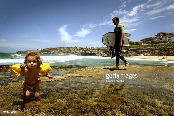 Month old Sachi Darling enjoying Tamarama Beach in NSW. Premier Morris Iemma announced that the quality of Sydney's ocean beaches is the best it has...