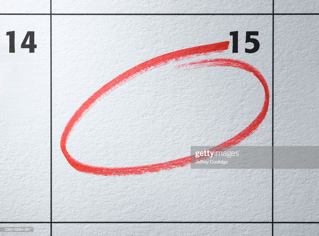 monthly calendar with day circled in red ストックフォト getty images