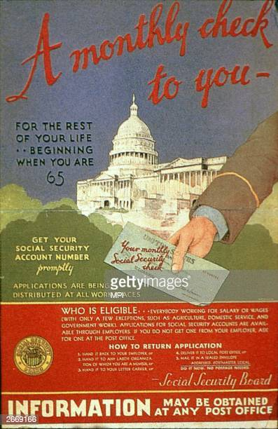 Monthly check for you' - a government poster urging people to apply for their social security account numbers, which features a hand holding a check...