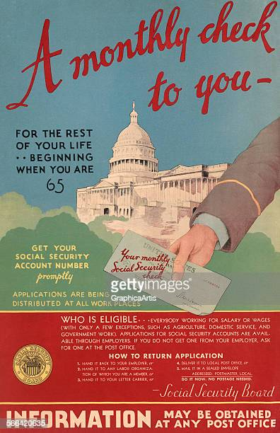 A Monthly check to you…' vintage poster introducing the Social Security program for the elderly lithograph 1935