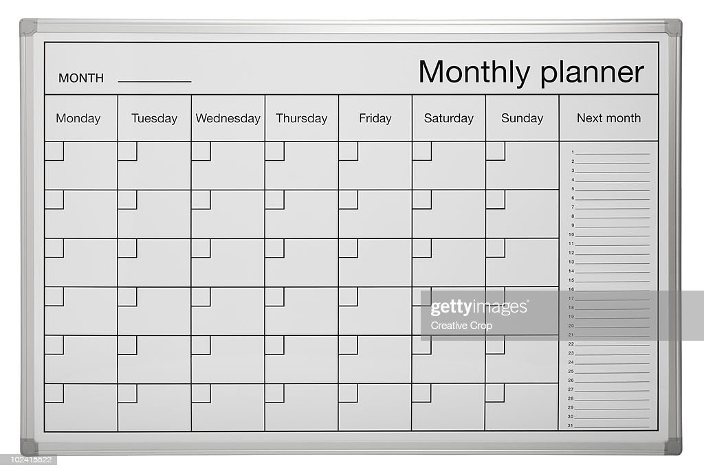 Monthly Calendar Board : Monthly planner calendar wipe board stock photo getty images