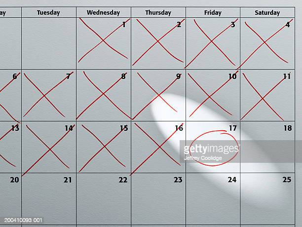 Monthly wall calendar with day circled in red