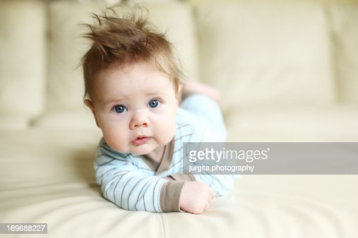 5 Months Old Baby Boy Laying On The Tummy Stock Photo