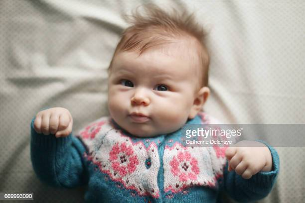 a 2 months old baby girl - bébé stock photos and pictures