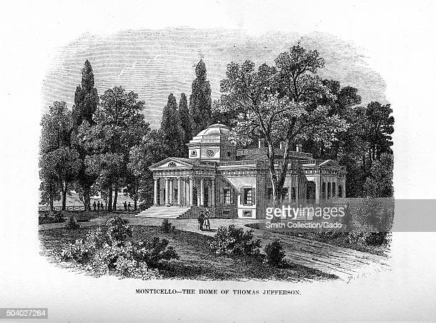 Monticello the home of United States President Thomas Jefferson engraving depicting the mansion and domed roof set among trees at the end of a...