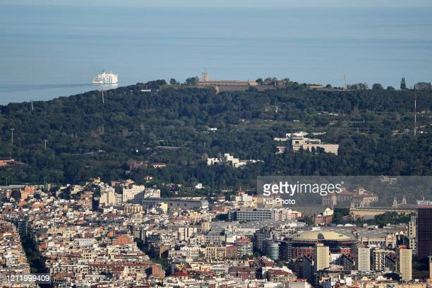 Montjuic castle Barcelona reaches historic lows in air pollution on 06th May 2020