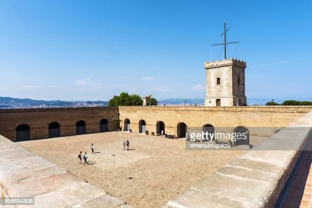 Montjuic Castle exterior in Barcelona, Spain