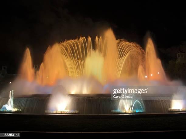 Montjuic Brunnen bei Nacht