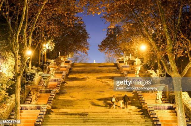 Montjuic steps at night