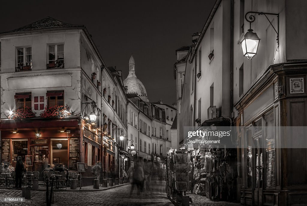 Montmartre at night desaturated : Stock Photo