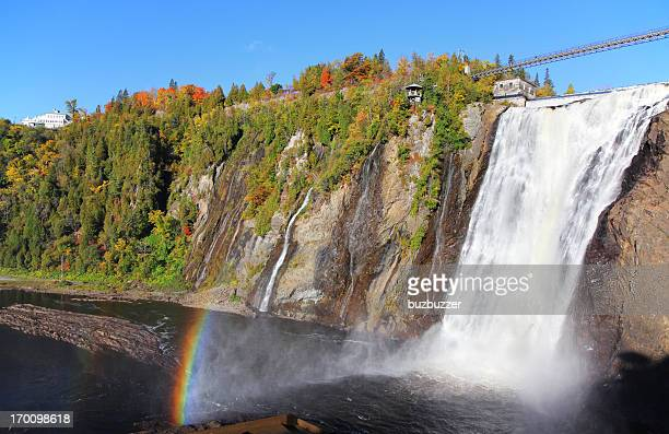 montmorency waterfalls - falling water stock photos and pictures