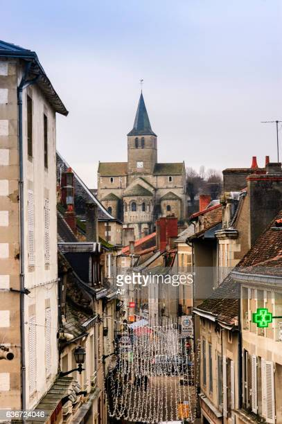 Montmorillon main street and an church of Notre Dame behind , Nouvelle-Aquitaine, France