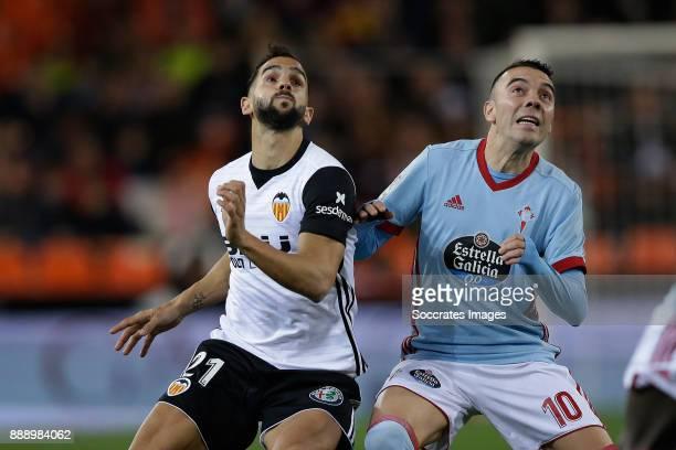 Montoya of Valencia CF Iago Aspas of Celta de Vigo during the Spanish Primera Division match between Valencia v Celta de Vigo at the Estadio de...