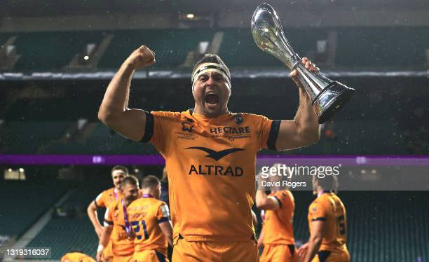 Montpellier captain Guilhem Guirado celebrates victory with the trophy after the European Rugby Challenge Cup Final match between Leicester Tigers...