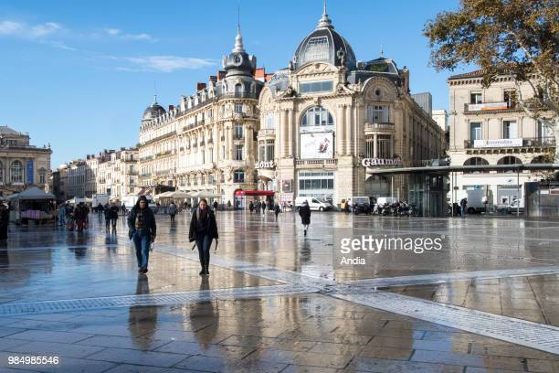 'Place de la Comedie' square in autumn after a shower